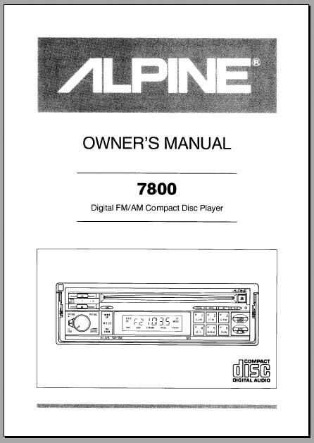 alpine car stereo owners manual